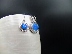 Matching Set,Blue Opal, Round Shaped, Sterling Silver, Necklace & Earrings