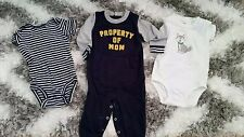 CARTER'S SET OF 3 ONESIES PROPERTY OF MOM 12 MONTHS LOT BABY BOY