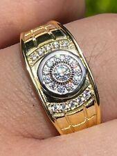 Men'S 14k Gold & реального твердого серебра 925 бриллиантовое кольцо, размер 7, 8, 9, 10, 11, 12, 13, ледяной