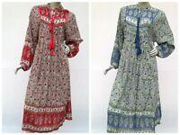 Floral festival maxi dress collar neck womens bohemian vintage long sleeve dress