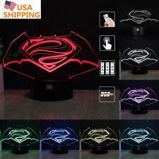 Justice League Batman Superman 3D LED Night Light Touch Desk Table Lamp Gift