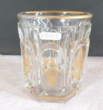 verre à eau ancien cristal décor fleurs filet or 19ème glass