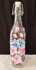 Oil Vinegar Cruet Bottle Dispenser Pink Roses Purple  Blue Flowers Hand Painted