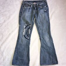 True Religion Joey Big T Embroidered Stars, Butterfly and Rainbow Jeans size 29