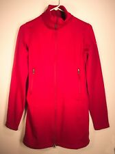Columbia Fleece Jacket Size S/P Red Full Zip Mock Turtle Neck Double Zipper