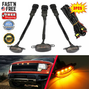 3x Raptor Front Grille Smoked Lens Amber LED Lamp Running Light  For Ford F-150