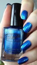 Color Club COLD METAL Bright Metallic Blue Chrome FOILED Nail Polish Lacquer 969