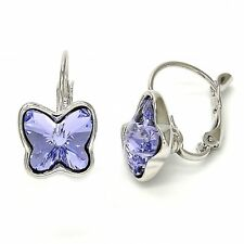 BEAUTIFUL EARRING WITH BUTTEFLY PURPLE SWAROVSKI CRYSTALS!!