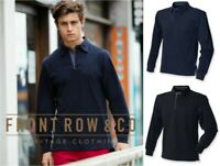 Front Row Collection - Mens Super Soft Rugby Shirt - Long Sleeved - Black/Blue