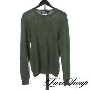 GORGEOUS Polo Ralph Lauren Linen Blend Green Acanthus Neck Stitch Sweater S NR