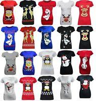 Ladies womens Xmas Rudolf Glitter Red Nose t shirt plus sizes 8-26/26 , 28/30