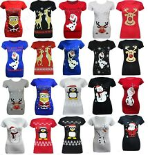 Ladies dancing  Xmas Rudolf Glitter Christmas t shirt Santa Minion Olaf Novelty