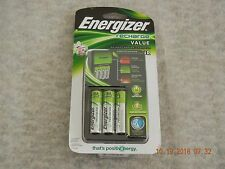Energizer Recharge Value Charger with 4 AA NiMH Rechargeable Batteries, New