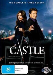 Castle: Season 3 (DVD, 6 Discs) Nathan Fillion - Region 4 - Very Good Condition