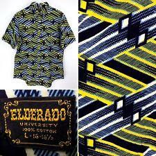 Mens Vintage 1970s Elderado Yellow Navy Button Short Sleeve Shirt Size M / L