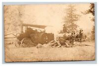 Vintage Early 1900's RPPC Postcard Horse Drawn Tractor Water Wagon Oregon