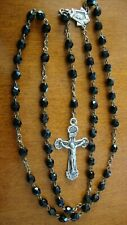 VINTAGE BLACK FACETED GLASS SMALL BEADS 22'' ROSARY VG CONDITION