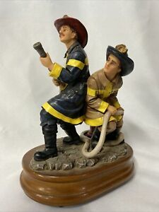 Vanmark RED HATS OF COURAGE Firefighter Porcelain Sculpture Figurine Music Box