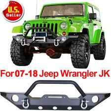 Front Bumper Rock Crawler  Fog Light Hole Black For 07-18 Jeep Wrangler JK F
