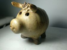 Studio Pottery  Bull Money Box Quirky & Well Detailed