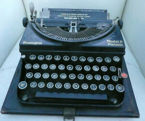 Unusual Remington Model 5 Portable 1930s typewriter with case and original label