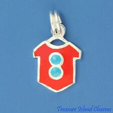 RED ENAMEL T-SHIRT with BLUE BUTTONS .925 Sterling Silver Charm
