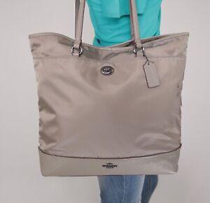 COACH Large Grey Nylon Leather Shoulder Hobo Tote Satchel Purse Bag