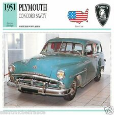 PLYMOUTH CONCORD SAVOY 1951 CAR UNITED STATES ÉTATS UNIS CARTE CARD FICHE