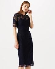 Jigsaw Floral Embroidered Short Sleeve Dress Womens New Blue Navy