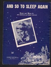 And So To Sleep Again 1951 Patti Page Sheet Music
