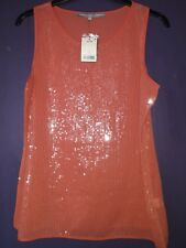 NEXT ORANGE SEQUIN TOP SIZE 16 BNWT