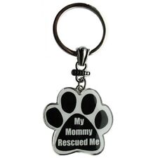 Paw Print Key Chain Fob My Mommy Rescued Me