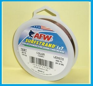 AFW SURFSTRAND Camo 1x7 Stainless Wire 300' LENGTH NEW! PICK YOUR SIZE