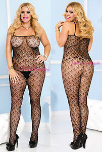 Plus Size Crotchless BODY STOCKING Tiny FLOWER PRINT Spaghetti Strap QUEEN