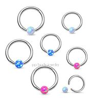 "1PC. 16G 1/4"" 5/16"" Steel Synthetic Opal Captive Bead Ring Earring Tragus Septum"