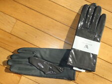 Worthington Ladies 100% Leather Gloves size XL Gray Solid Lined for warmth
