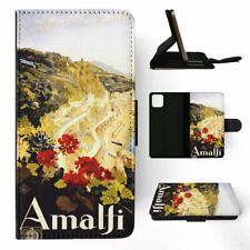 APPLE iPHONE FLIP LEATHER CASE WALLET COVER|ITALY AMALFI DRAWING ART