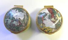 Set of 2 Poetry of Love Enamel Boxes Collecton Franklin Mint Shelly/Browning