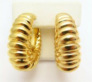 """Designer 18K Yellow Gold Resin Filled 12MM Wide Shrimp Style Hoop Earrings 1.25"""""""