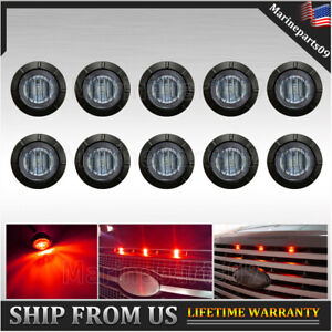 10x Smoked Front Bumper Red LED Grill Grille Lights