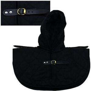 Padded Gorget Coif Hood Neck Collar With Leather Pauldren Shoulder Straps
