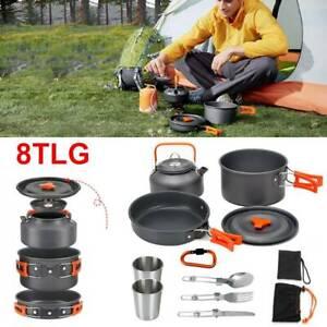 8x Camping Kochgeschirr Militär trekking Kochset 2-3 Person Becher Reisebesteck
