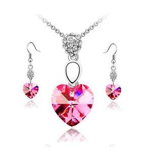 Hot Pink Crystal Elements Heart Pendant Necklace & Earrings Set Jewellery UK
