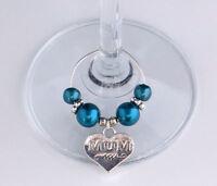 Personalised Mum Mummy Mothers Day Birthday Heart Wine Glass Charm Free Gift Bag