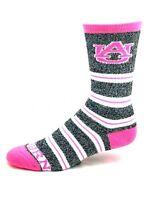 Auburn Tigers For Bare Feet Gray and Pink Melange Stripe Crew Socks