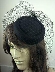 black felt mini pill box hat black veiling french veil fascinator wedding