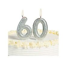 60th Milestone Candles Birthday Silver Glitter Sparkling Party Decorations 60 yr