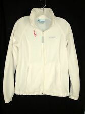 Columbia Pink Ribbon Fleece Full Zip Jacket sz M Ivory Breast Cancer