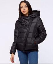 NIKE SPORTSWEAR Women's Down Filled Short Jacket Asymmetric Zip Black Small
