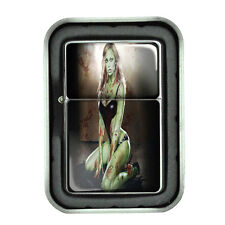 Windproof Refillable Oil Lighter with Gift Box the 3rd Zombie Design-001 Pinup